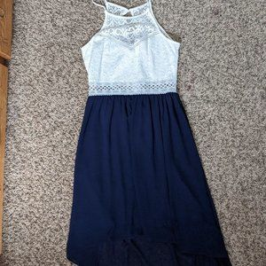 Blue and White High-low Dress